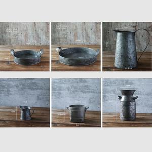 Image 1 - Bandeja de hierro Vintage Retro contenedor lata plato decoraciones para florero estilo Rural naturaleza muerta, accesorios de fotografía de alimentos