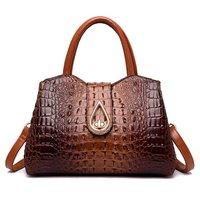 Vintage Fashion Crocodile Genuine Leather Ladies Handbag Brand Women Bag Designer Female Shoulder Bag Gift Party Bolsas Feminina