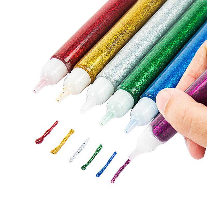 12pcs Color Drawing Glitter Powder Adhesive Paper Flower Crafts Phone Case DIY Child Art Painting Super Liquid Glue Nail Gel Pen