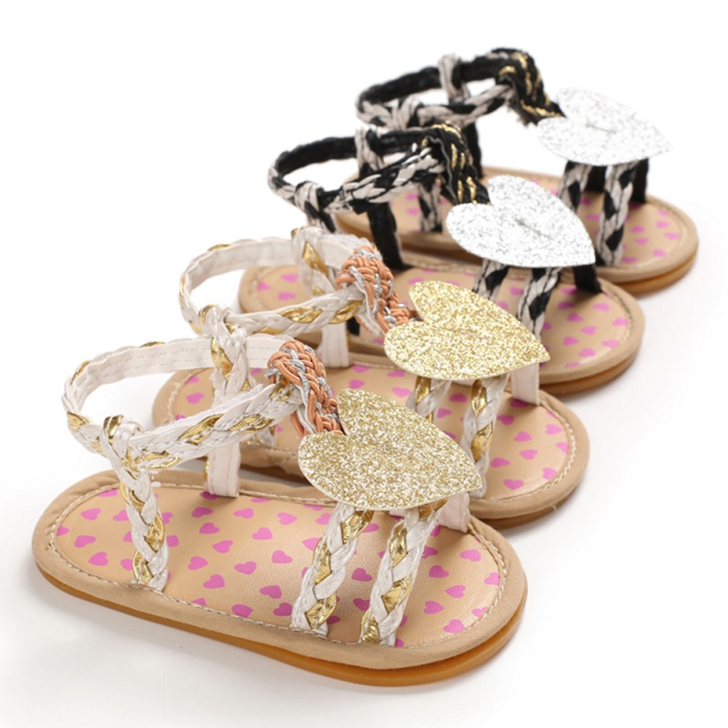 Baby Girl Sandals Summer Baby Girl Shoes Cotton Canvas Weave Dotted Love Heart Baby Girl Sandals Newborn Baby Shoes Beach Shoes