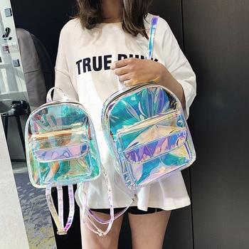 2019 Spring and Summer New Laser Multi-purpose Backpack Female Korean Version of The Tide Fashion Wild Transparent Rucksack