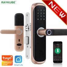 RAYKUBE Tuya parmak izi kapı kilidi akıllı kart/dijital kod/anahtarsız elektronik kilit ev ofis güvenlik gömme kilit X3