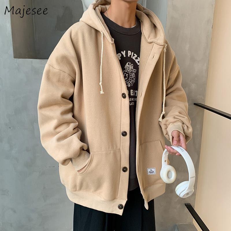 Hoodies Men Winter Thickening Velvet Warm Hooded Single Breasted Pockets Mens Sweatshirt All-match 2XL Loose Harajuku Kpop Daily