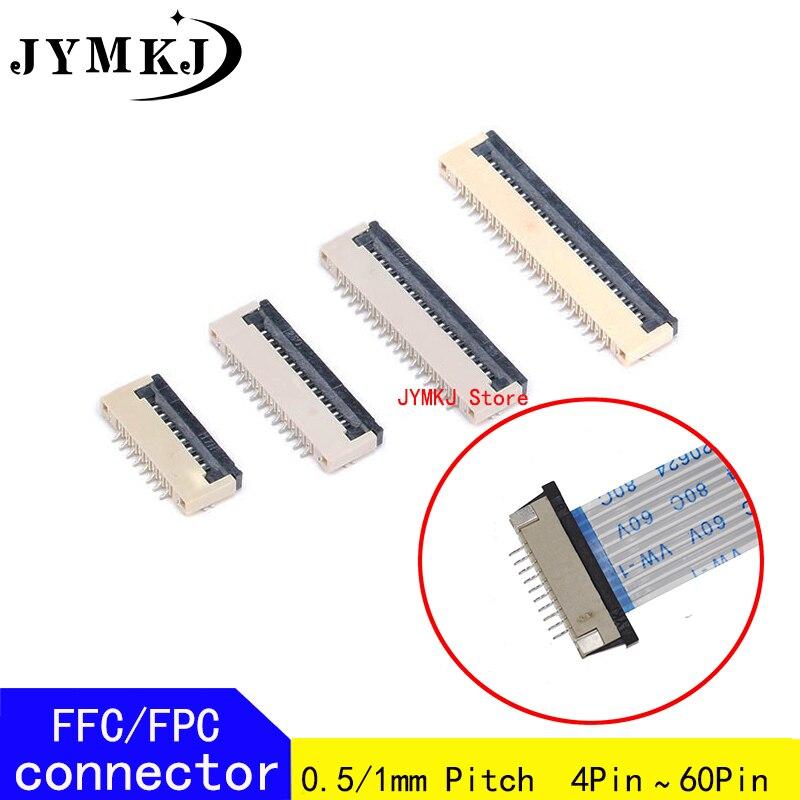 Женский 0,5 мм 1,0 мм AWM 20624 80C 60 в, стандартный плоский кабель, разъемы PCB 4 5 6 7 8 10 12 16 18 20 26 28 30 32 36 40 50 60P