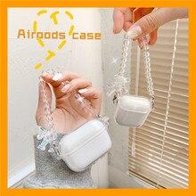 ثلاثية الأبعاد كريستال الدب سوار شفاف المفاتيح سماعة بلوتوث لاسلكية الحال بالنسبة لشركة أبل AirPods 1 2 غطاء ل airpods برو