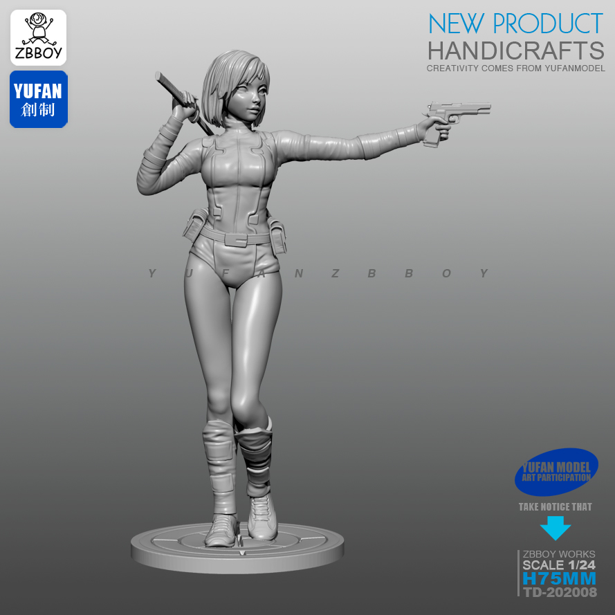 1/24 Resin Kits Assassin Girl Resin Soldier Self-assembled 75MM TD-202008