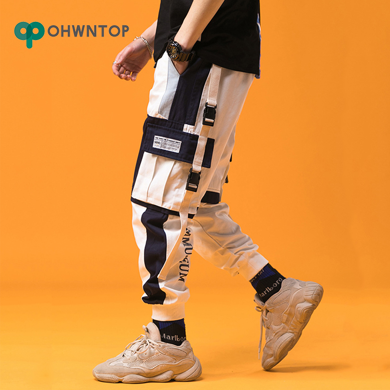2019 Spring Mens Harem Pants Streetwear Jogger Ribbons Trousers Men Hip Hop Sweatpants Trousers Letter Printed Cargo Harem Pants