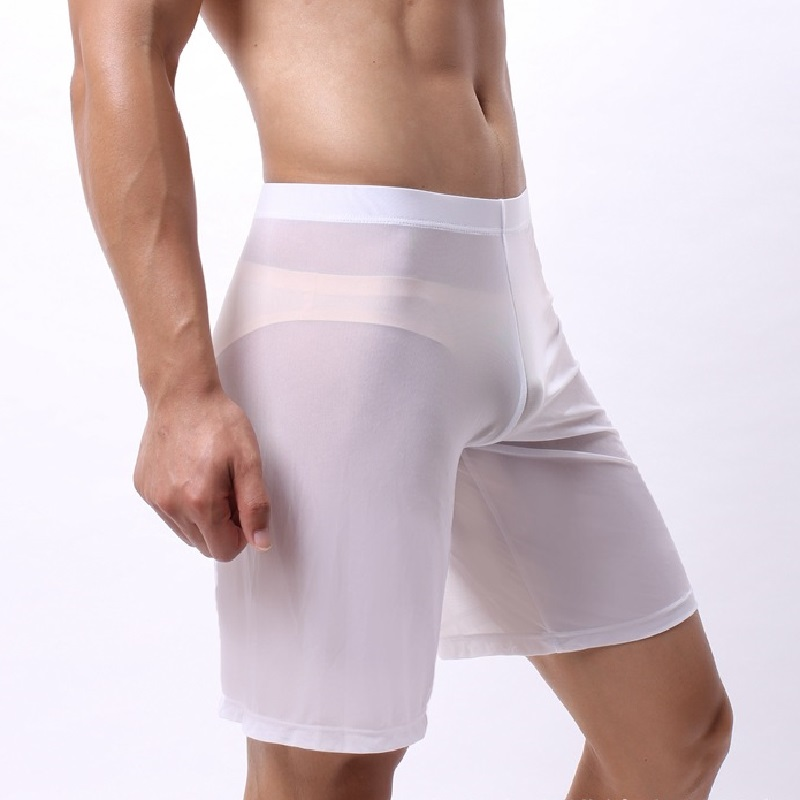 Men U Convex Mesh Hollow Out Long Boxers Breathable Ultra-thin Long Boxer Shorts Sexy Transparent Underwear Leisure Wear Pyjamas