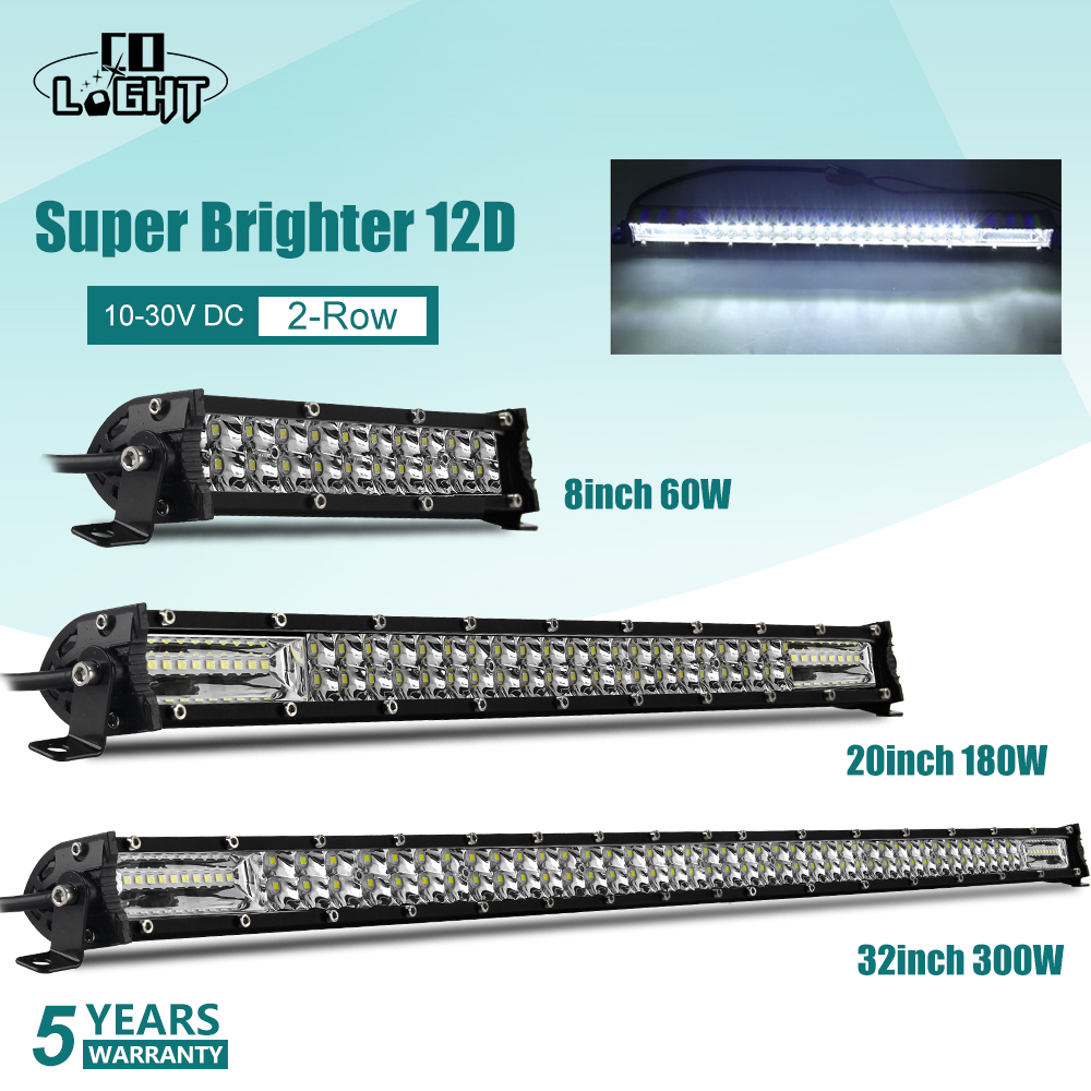 10D Slim LED Work Light Bar Flood Spot Combo Beam For Offroad 4WD 10 20 30inch