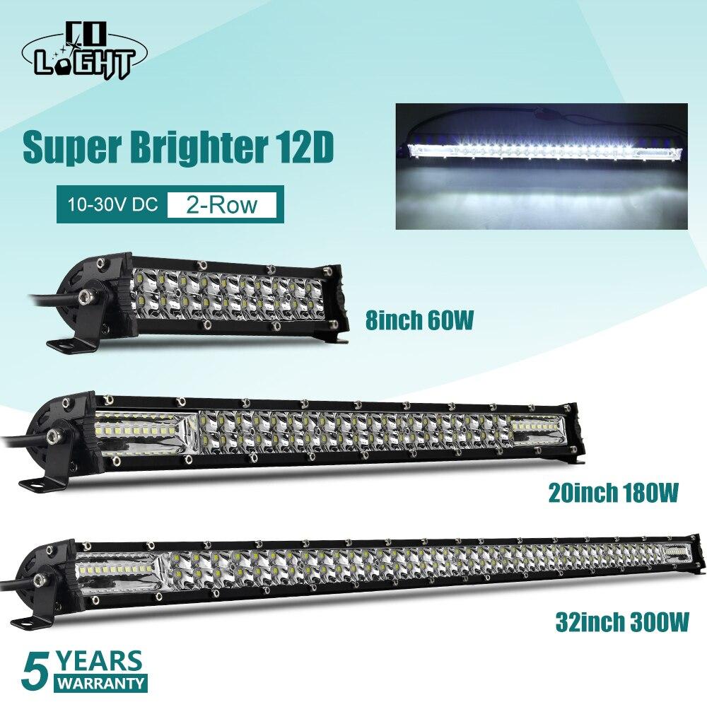 """Światło co super cienki 12D 8 """"20"""" 32 """"listwa świetlna led Spot powódź W 60W 180W 300W listwa led 4x4 do ATV SUV Offroad LED światło robocze 12V 24V"""