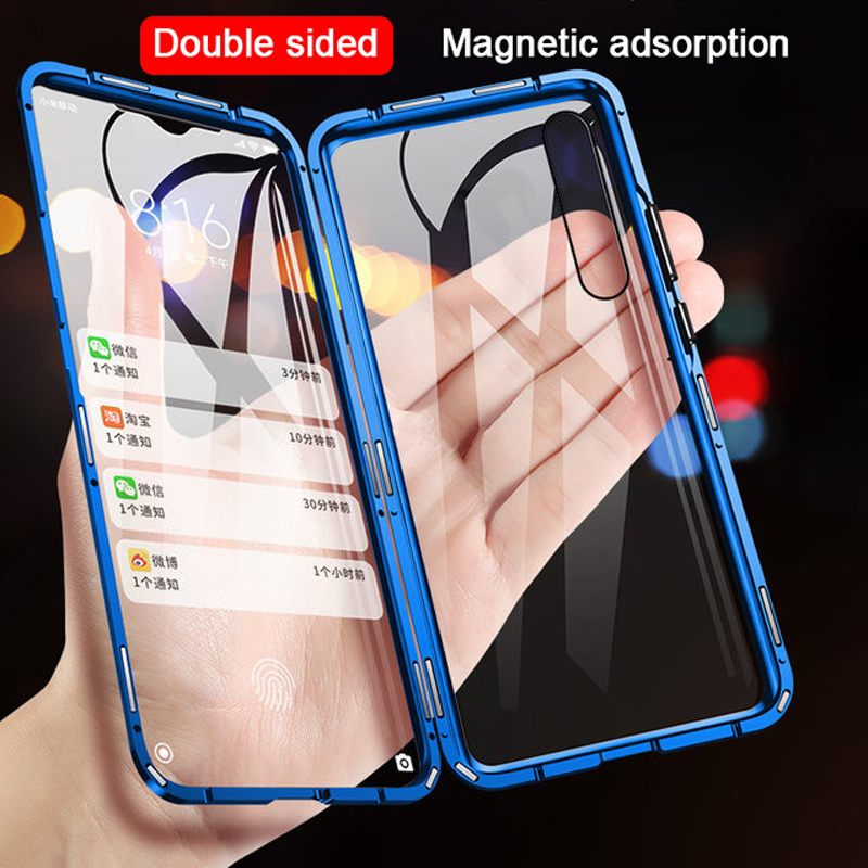 Double Sided Magnetic Metal Case for Xiaomi Mi 9 SE CC9 A2 A3 Lite POCO F1 9T Glass Cover For Redmi K20 Note 8 7 10 Pro 8A Case