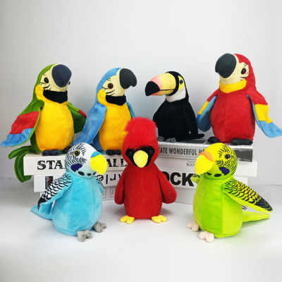 New Tongue Voice Recording Parrot Toy Electric Voice Control Talking Parrot Plush Toys Sound Record Repeat Parrot Kids Toy