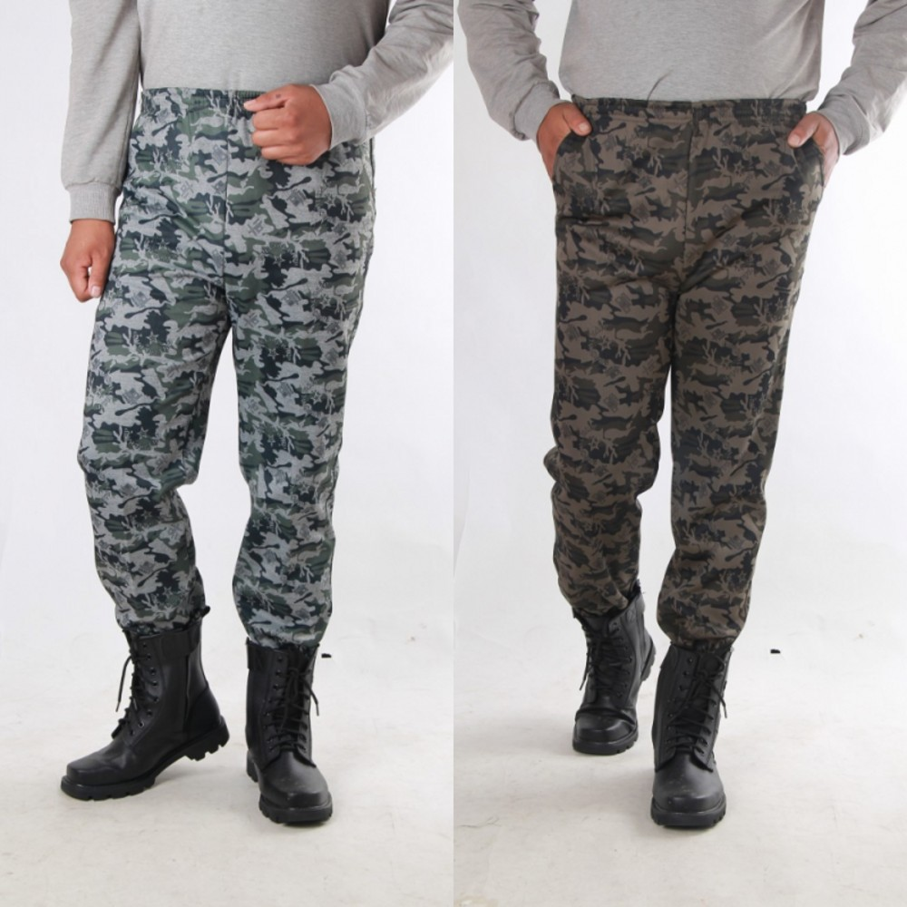 Sports Camouflage Pants Men's Large Size Brushed And Thick Workwear Straight-Cut Winter Thick Casual Pants Warm