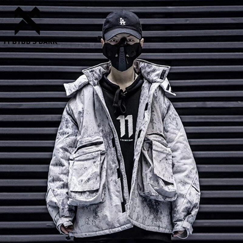 11 BYBB'S DARK Hip Hop Hat Detachable Vintage Dirty Men Hooded Parkas Jackets Harajuku Tops Casual Streetwear Thick Padded Coats