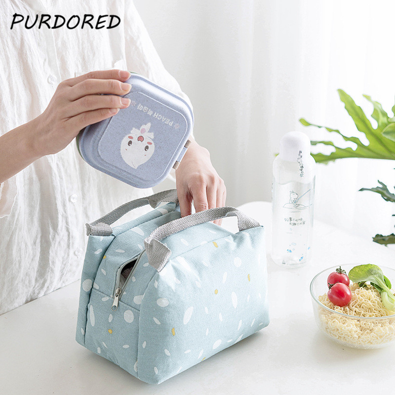 PURDORED 1 Pc Lunch Bag Women Thermal Food Bag Storage Cotton Linen Cooler Picnic Lunch Box Case Food Container Travel Necessary