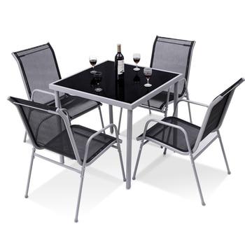 5 Pieces Bistro Set Garden Chairs 1