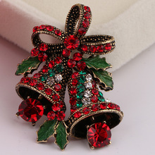 Fashion Womens Christmas Suit Pin Creative Gift Bow High-grade Corsage Vintage Bell Brooch Holiday