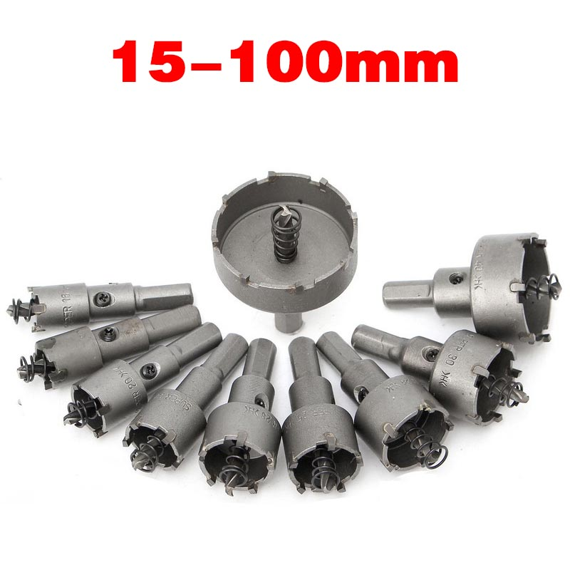 1Pcs TCT Carbide Tip Core Drill Bit Hole Saw Metalworking Cutter For Stainless Steel Alloy Metal Drilling 15-100mm Drill Bit