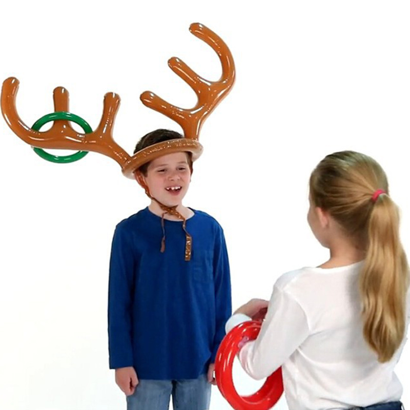 Inflatable Reindeer Antler Hat Ring Xmas Holiday Party Toys Moose Gift Kids Game