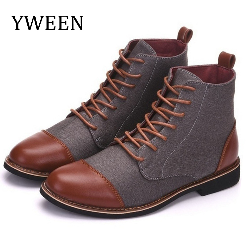 YWEEN Spring Autumn Casual Lace Up Shoes Booties Men Ankle Boots Oxfords Fashion Leather Boots Men Boots Large Size 39-48