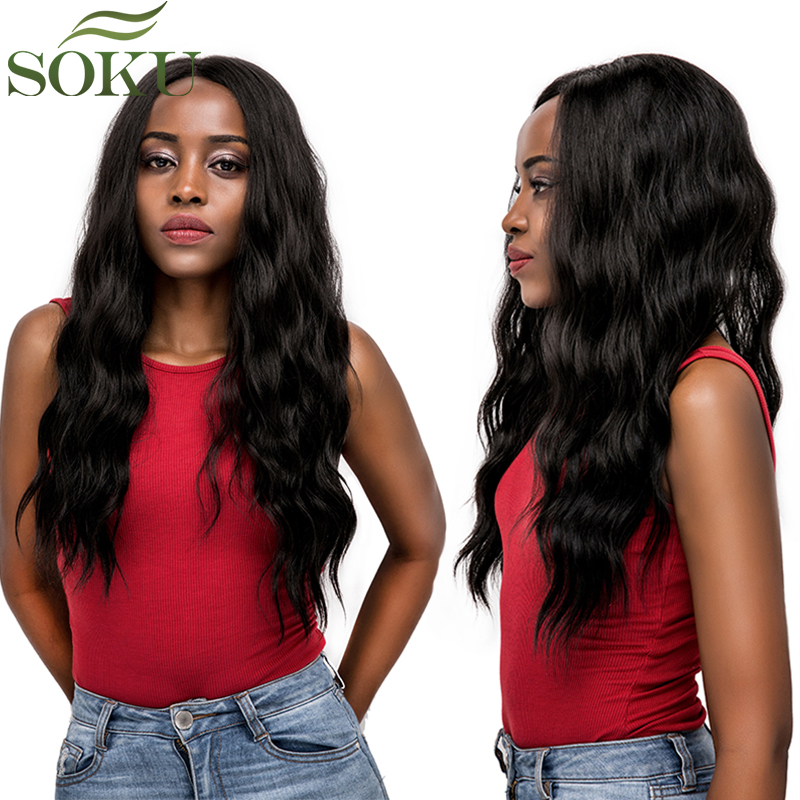 Natural Black Brown Synthetic Lace Front Wigs SOKU Long Wavy Lace Wigs With Baby Hair Free Part Hair Wigs For Black Women