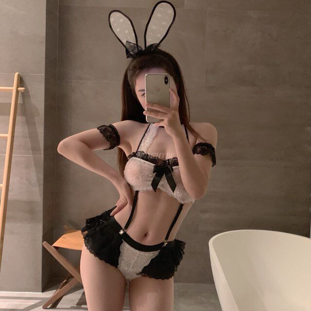 Bunny Girl Pajamas Perspective Lace Nightdress Maid Costume Sexy Lingerie Home Service Bunny Costume Sexy Halloween CostumesSexy Costumes   -