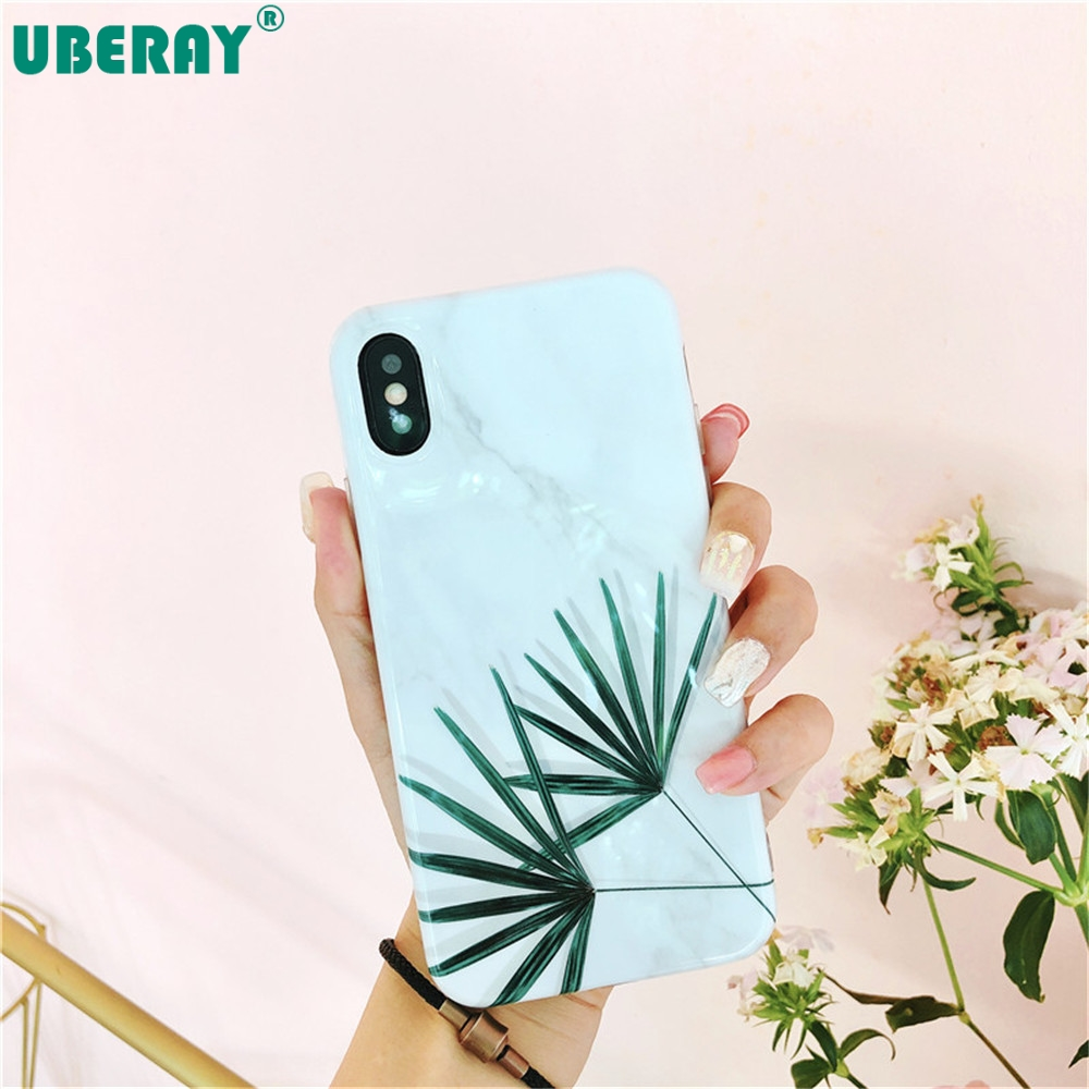 UBERAY Phone Case For iphone 11pro Max 11 XR XS X 8 7 6 6S Plus Case Fashion Marble Cover Soft TPU Silicone Coque Banana leaf