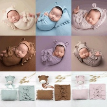 Clothing Pillow Swaddle Wraps Studio-Props Photo-Costumes Bear-Hat Photography Girls