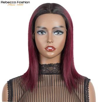 Rebecca proste włosy koronkowa peruka ludzkie włosy peruki dla kobiet średnia długość koronkowa peruka peruwiański Remy Ombre Burgundy średnia długość Bob tanie i dobre opinie Rebecca fashion CN (pochodzenie) Remy włosy Średnia wielkość Jasny brąz Ciemniejszy kolor tylko Swiss koronki Peruwiański włosów