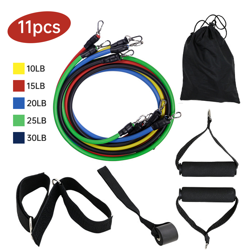 Resistance Bands Set fitness Yoga gym workout at home In stock image