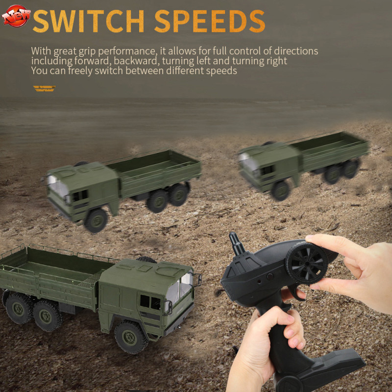 Children Chrismass Gift Large Military Radio Control <font><b>Truck</b></font> 2.4G Loading 6WD 6 <font><b>Wheel</b></font> <font><b>RC</b></font> Army <font><b>Truck</b></font> Toys Rock Crawler Electric Toy image