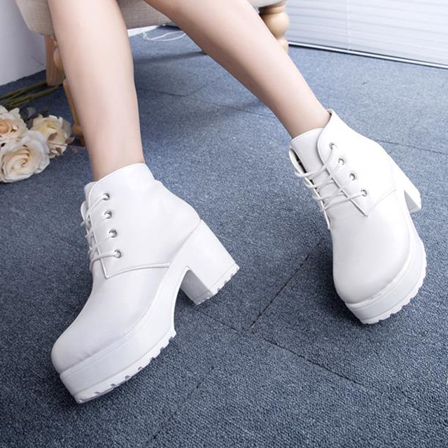 Hot Deals°Ladies Shoes Ankle-Boots Platform Mid-Block Lace-Up Chunky High-Heel Winter Women Autumn
