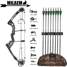 30-55lbs Archery Compound Bow And Arrow Set With Carbon Arrows Stabilizer Sight Bow Bag IBO310FPS Target Shooting Accessories 30 55lbs archery compound bow set with bowstring stabilizer bow limbs stabilizer ibo310fps outdoor hunting shooting accessories