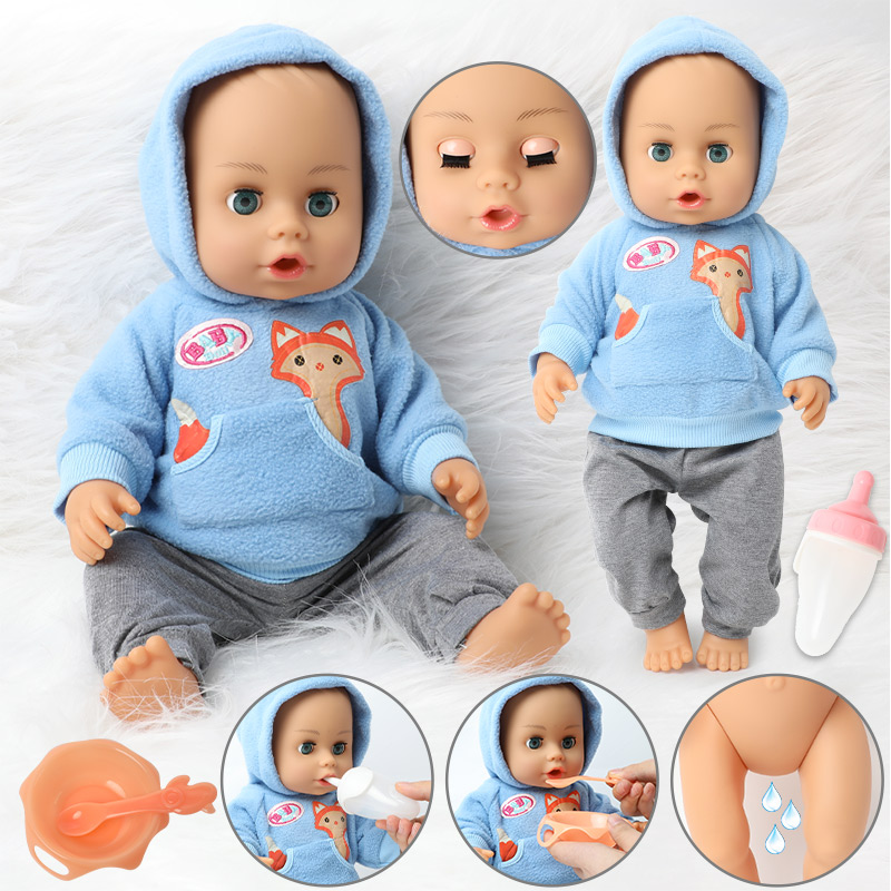 18 inch DIY bebe reborn doll Silicone 46CM newborn waterproof Realistic Baby doll Feeding bottle Drink water Clothes set for toy