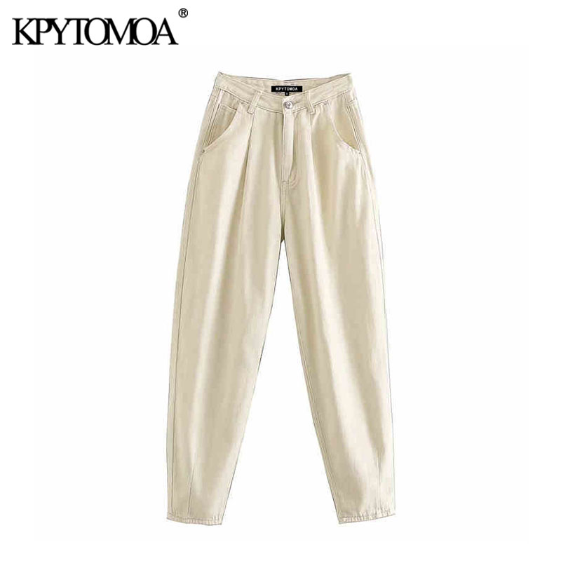 Vintage Chic Pockets High Waist Darts Jeans Women 2020 Fashion Zipper Fly Denim Harem Pants Stylish Female Ankle Trousers Mujer