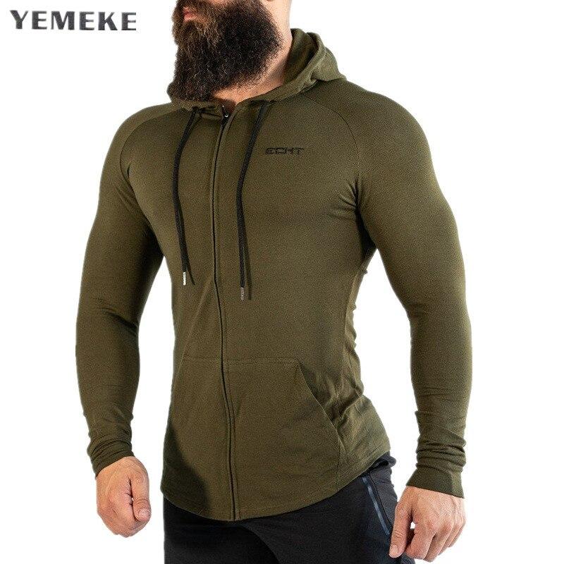 Autumn Winter Men Gyms Hoodies Fitness Bodybuilding Sweatshirt Pullover Sportswear Male Workout Hooded Jacket Clothing YEMEKE
