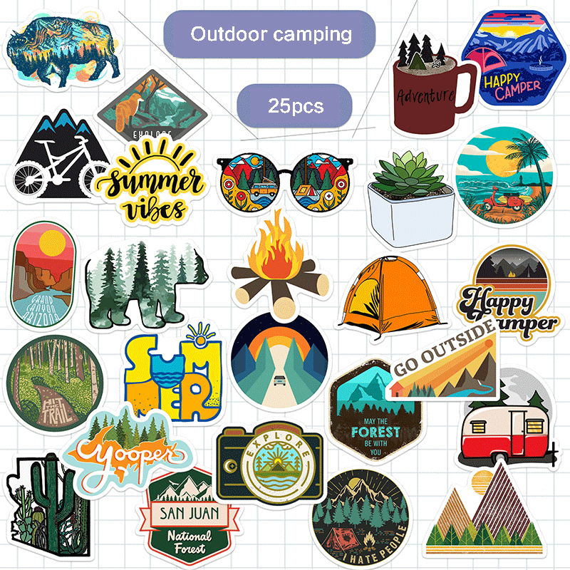 25 PCS Camping Travel Stickers Wilderness Adventure Outdoor Landscape Waterproof Decal Sticker To DIY Suitcase Laptop Motor Car
