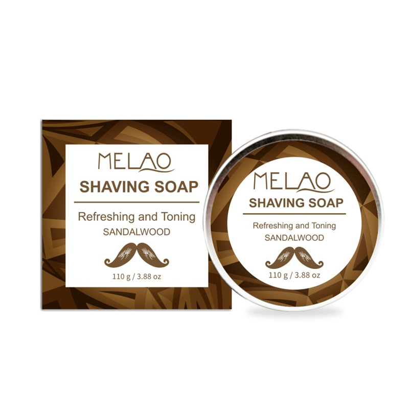 New Men Shaving Soap Cream Refreshing Sandlewood Shaving Soap Barber Long Lasting Soap For Shave Beard Straight Face Bamboo Soap