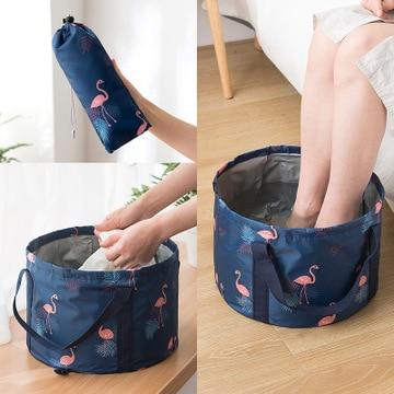 Foot Bath Bucket Foldable Basin Travel Camping Washbasin Bucket Fishing Folding Basin Foot Bath Sink Washing Basket Spa Base bag