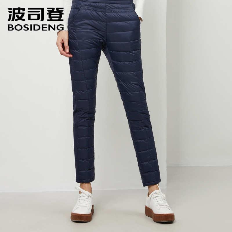 Bosideng 2019 nova mulher outono e inverno grosso quente para baixo calças de alta qualidade calças de cintura alta magro b90130012