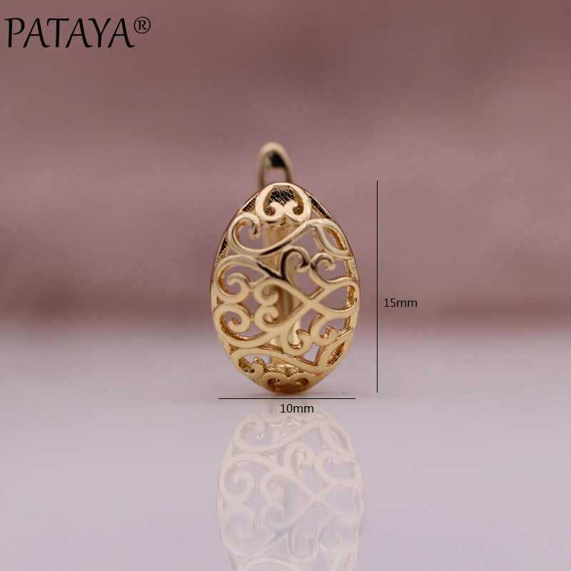 ¡Novedad! ¡Nuevo modelo! Pendientes colgantes grandes de PATAYA con exquisito hueco tallado 585 en oro rosa para mujer, joyería de moda fina para fiesta de boda