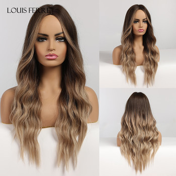LOUIS FERRE Long Wave Black Brown Wigs Middle Part Ombre Synthetic for Women Afro Cosplay Party Heat Resistant Fibre - discount item  51% OFF Synthetic Hair