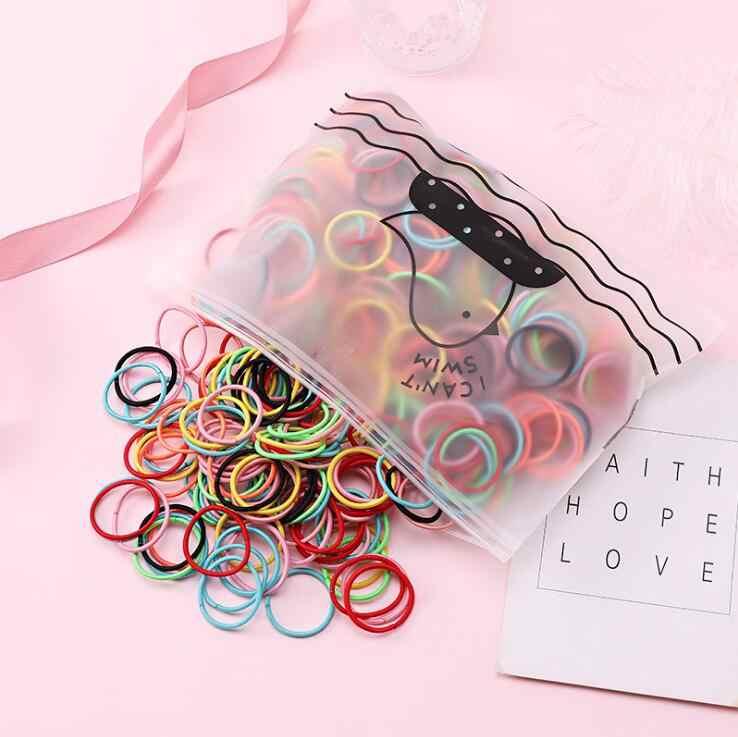 100 adet/paket yeni saç aksesuarları kızlar lastik bantlar toka elastik saç bantları çocuklar bebek kafa bandı süslemeleri bağları sakız saç için
