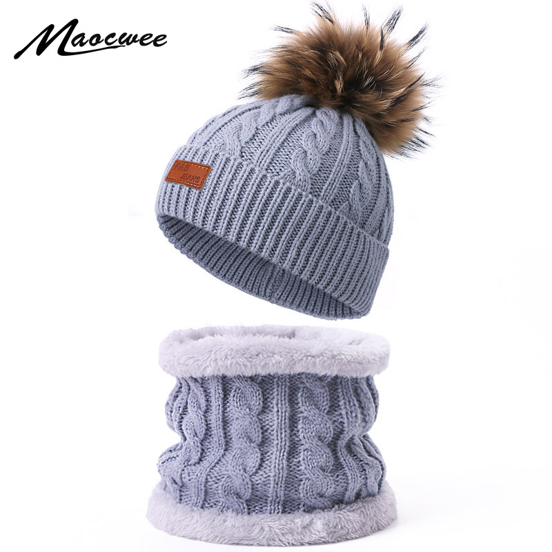 Children Real Fur Pompon Hat Scarf Set Autumn Winter Warm Knitted Thick Beanie Solid Color Kids Crochet Cap Nack Ring Scarf Sets