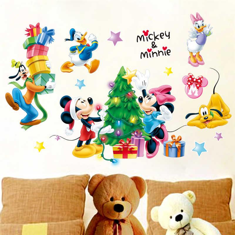 Pegatinas de pared de mickey minnie pato goofy para habitación de niños decoración del hogar calcomanías de pared de Navidad de dibujos animados arte mural de pvc diy carteles