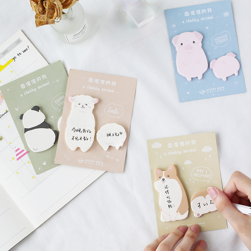 40 Pages A Chubby Animal Series Dog Pig Panda Alpaca Memo Pads Plan Message Writing Sticky Notes School Office Supply Stationery