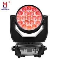 Zoom Moving Head Light 19x15W Stage Lighting Effect Quad LED RGBW and Dmx Control Dj Disco and Nightclub