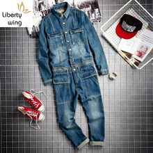 Spring Fall Mens Vintage Detachable Denim Cargo Overalls HipHop Long Sleeve Tops Straight Pants Big Size Rompers Male Jumpsuit(China)