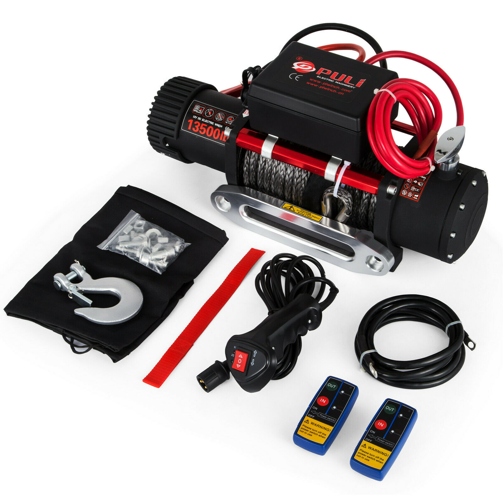 SingleLine 13500LBS 12V Electric Synthetic Rope Winch Recovery Remote Control