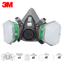 3M 6200 Half Face Gas Mask Respirator with 2Pcs Ammonia Methylamine Vapor 6004 Filter Cartridge Filter Cotton Filter Cover